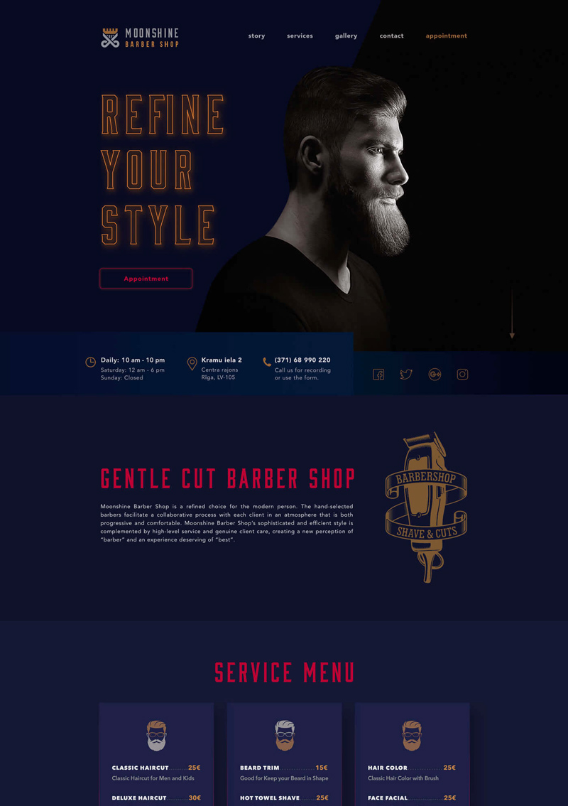 Moonshine Barbershop UI / UX Design